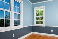 Freshly painted room with three tone pattern.