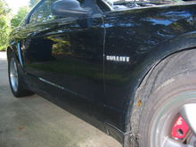 """""""Custom"""" badging-bored mechanic special!  Kittyhair filler, decklid badges, and black touchup paint/"""