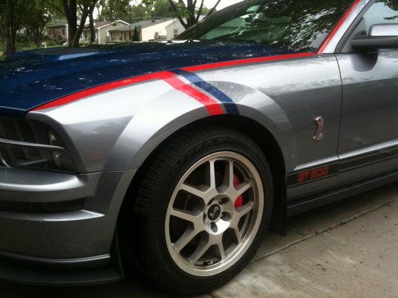 Eleanor with GT500 hood and Red and Vista Blue Stripes