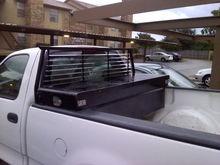 Black headache rack and tool box
