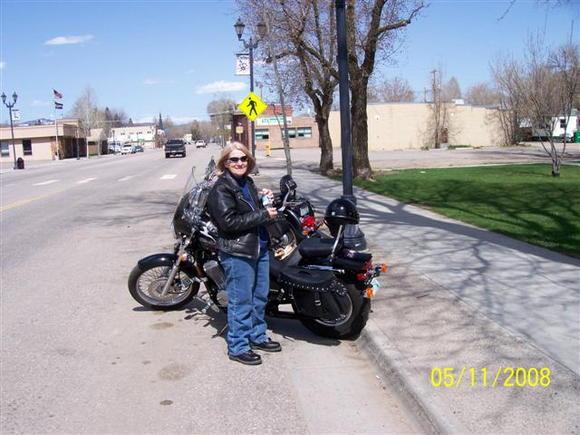 Taking a break, Hayden, Colorado Honda Shadow 600
