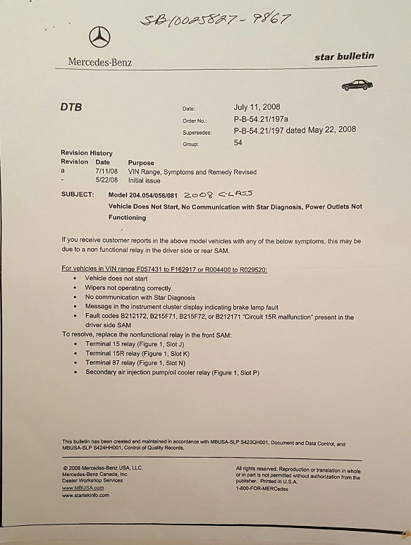 An alternative diagnosis to the failed eis esl issue for Mercedes benz service bulletins
