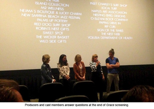 Producers and cast members answer questions at the end of Grace screening