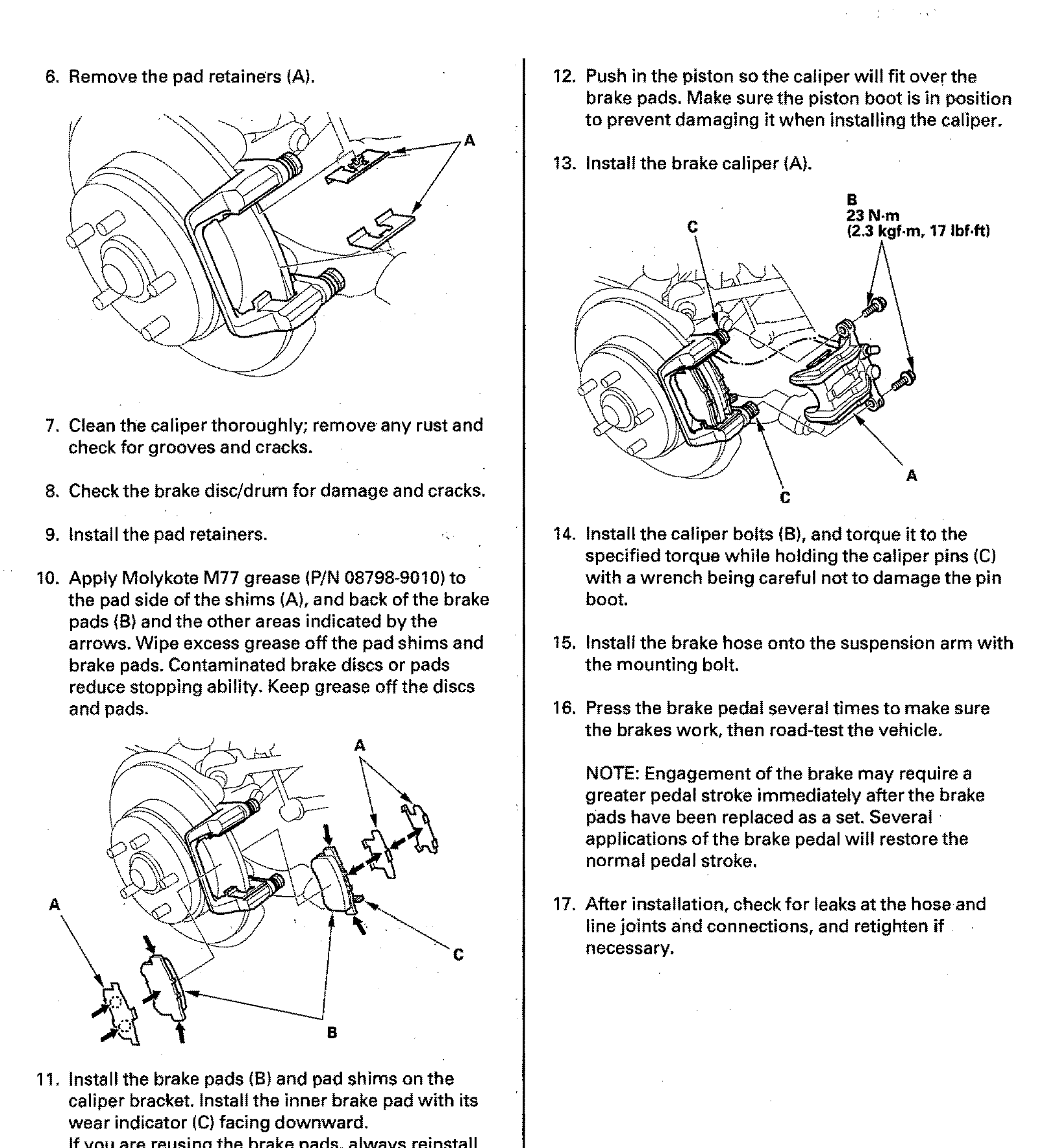 2001 honda civic suspension torque specs