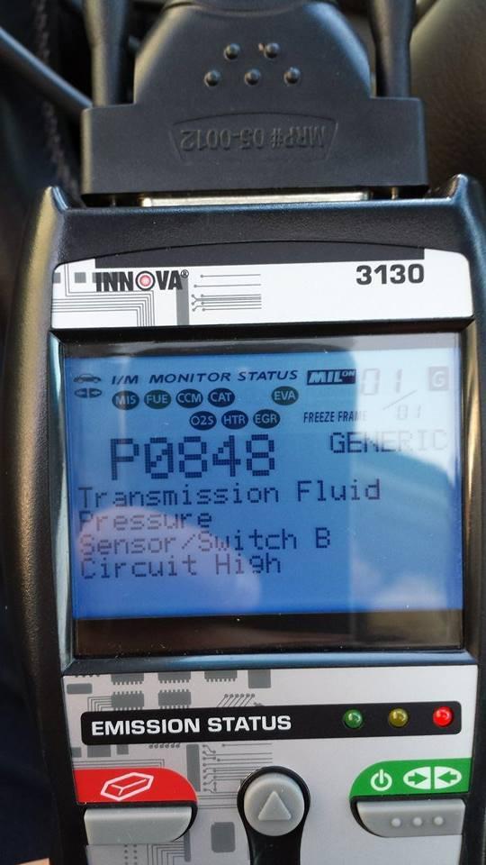 P0848 Transmission fluid pressure sensor/switch B circuit high