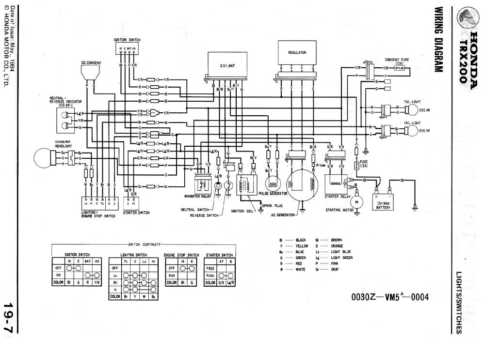 86 Honda Fourtrax Wiring Diagram