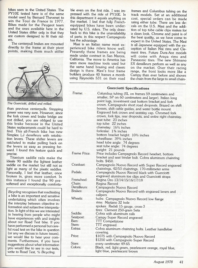 Road Test/Bike Review (1978) Top Racing Bikes (Peugeot PY10E