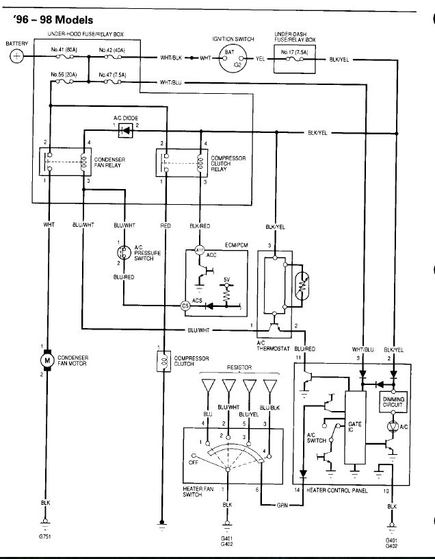95 Civic C Doesnt Work No Voltage Condenser Fan Relay Fuse 35 A 3278558 on 1992 acura integra wiring diagram