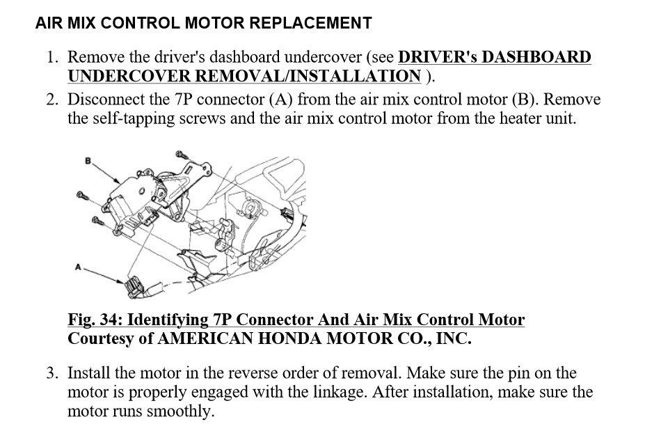 06 Blend Door Actuator Replacement - Honda-tech