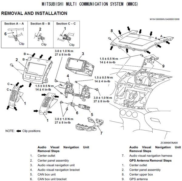 2007 outlander xls, bluetooth is there, but won\u0027t work mitsubishitagore drivingforceauto com s tsb1254012 pdf remove some of these cover parts from of the dashboard