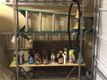 Here is my detailing cart with all my detailing products