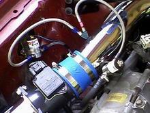 BBK cold air intake, Nitrous Xpress 100 shot wet kit, BBK Strut tower brace, Hedman headers