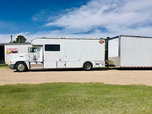 Toter and stacker trailer with four post lift  for sale $75,000