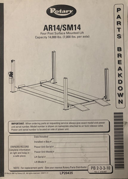 AR14/SM14 LIFT FOR CARS  for Sale $4,600
