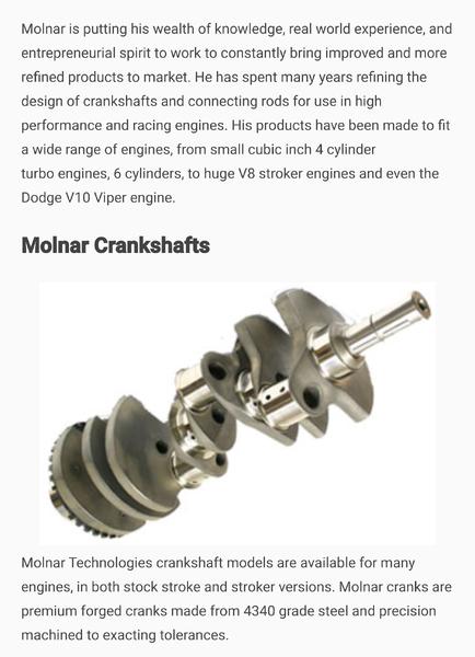 """MOLNAR FORD 4.600"""" FORGED CRANKSHAFT - ON SALE!  for Sale $981"""