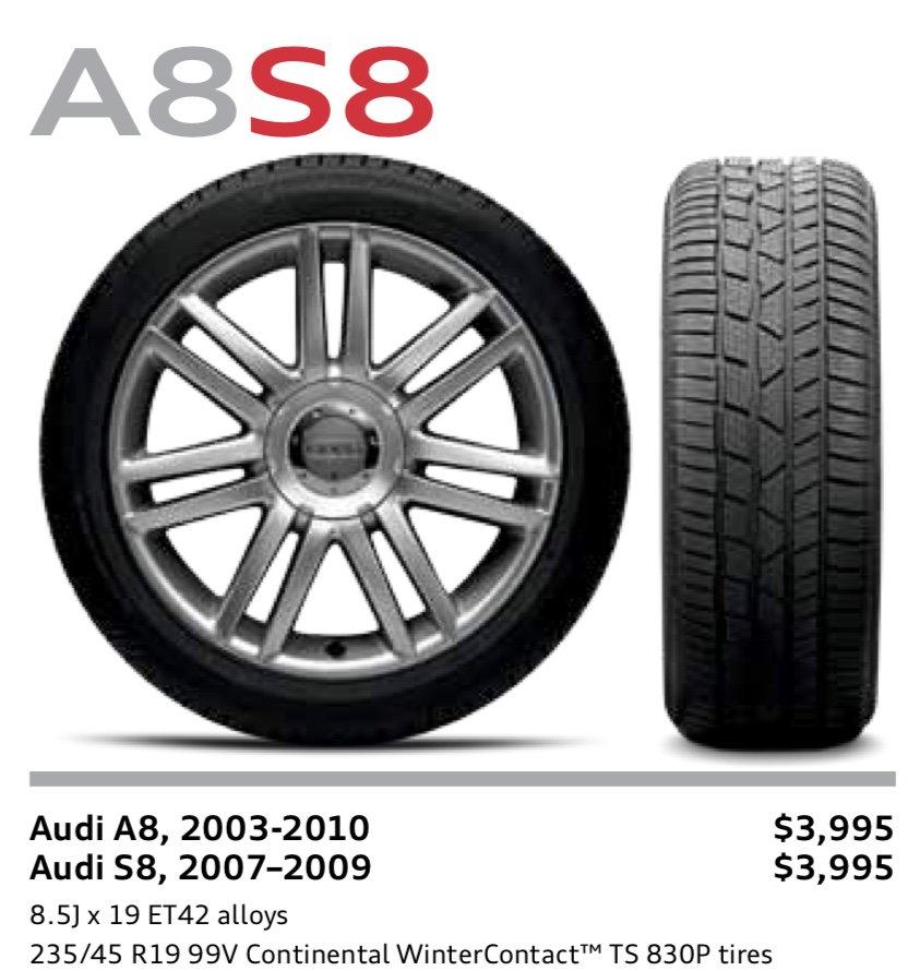 """Audi A8 D3 A8/S8 OEM 19"""" Snow Wheels"""