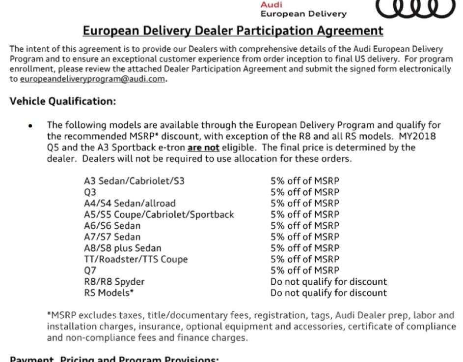 European Delivery Price Negotiation - Page 5 - AudiWorld Forums