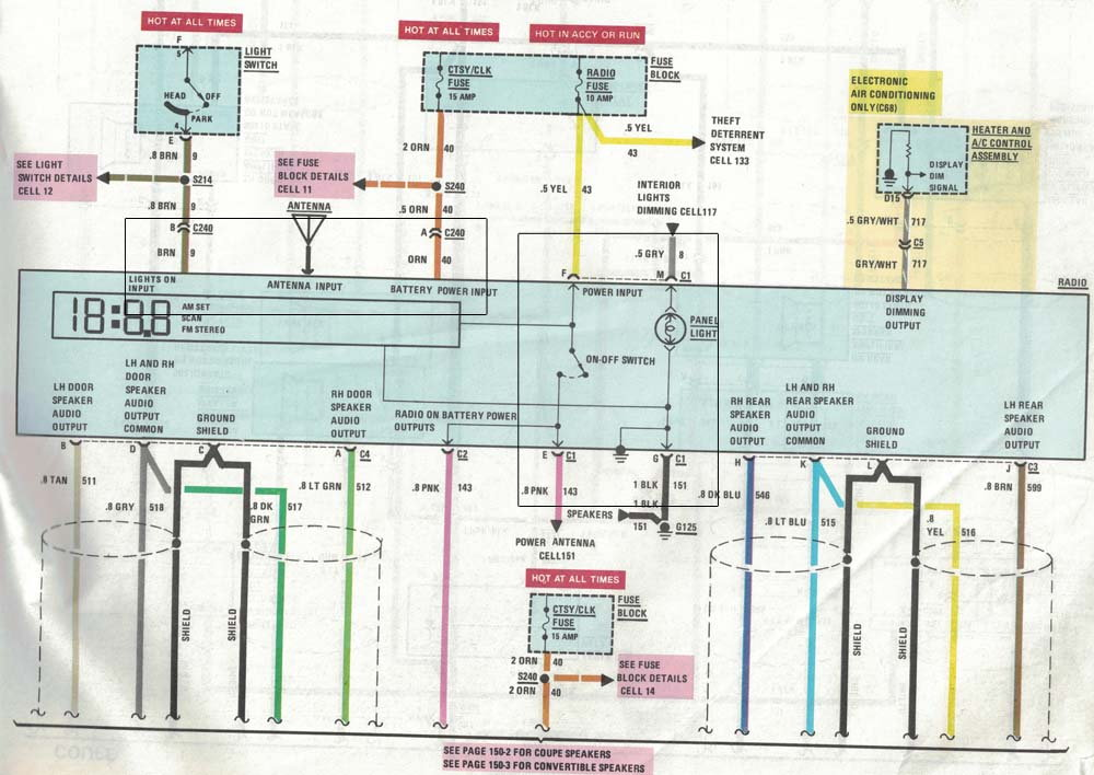 1989 OEM Radio / connection / Dimming problem ...