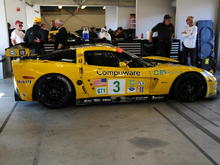 #3 in the garage at '08 Laguna Seca ALMS. All back together ready to go.