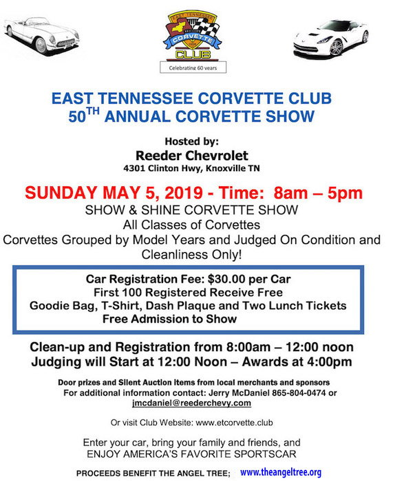 MAY 5th - 50th Annual Corvette Show: ETCC Knoxville TN