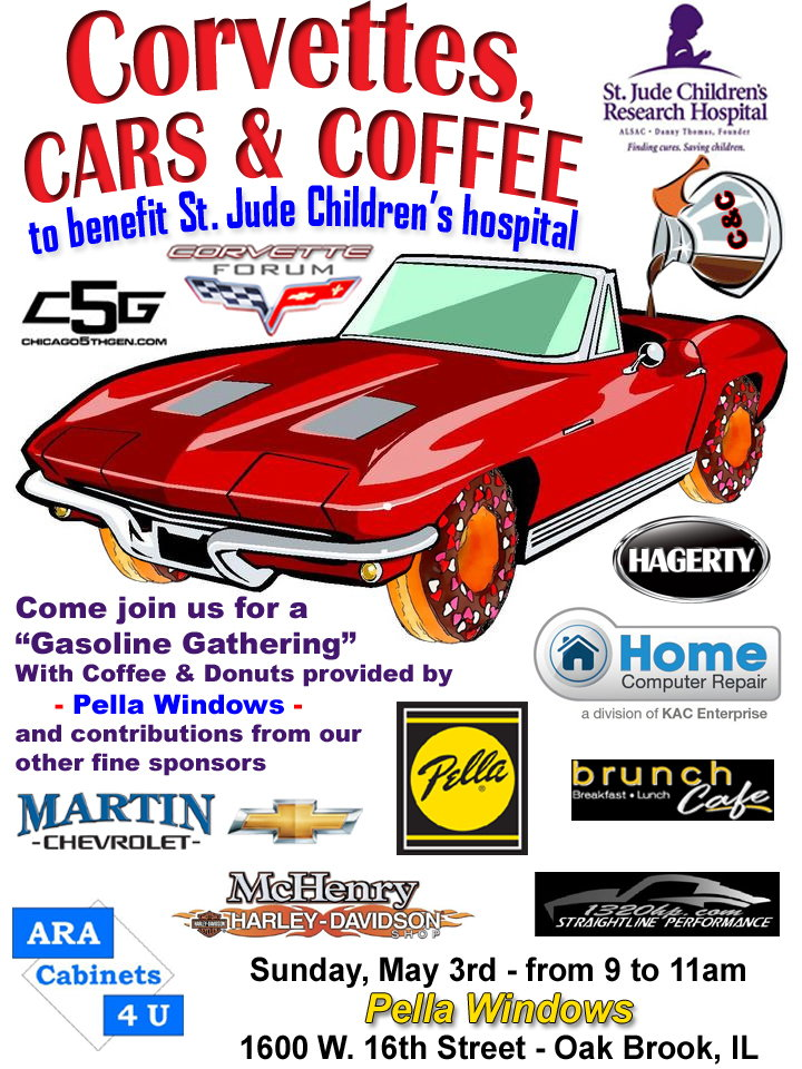 Corvettes, Cars and Coffee for St  Jude 5/3/15