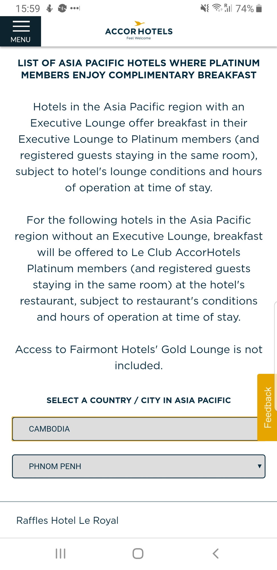 Carte Accor Platinum.Platinum Gold Welcome Amenities At Accor Hotels Page 37