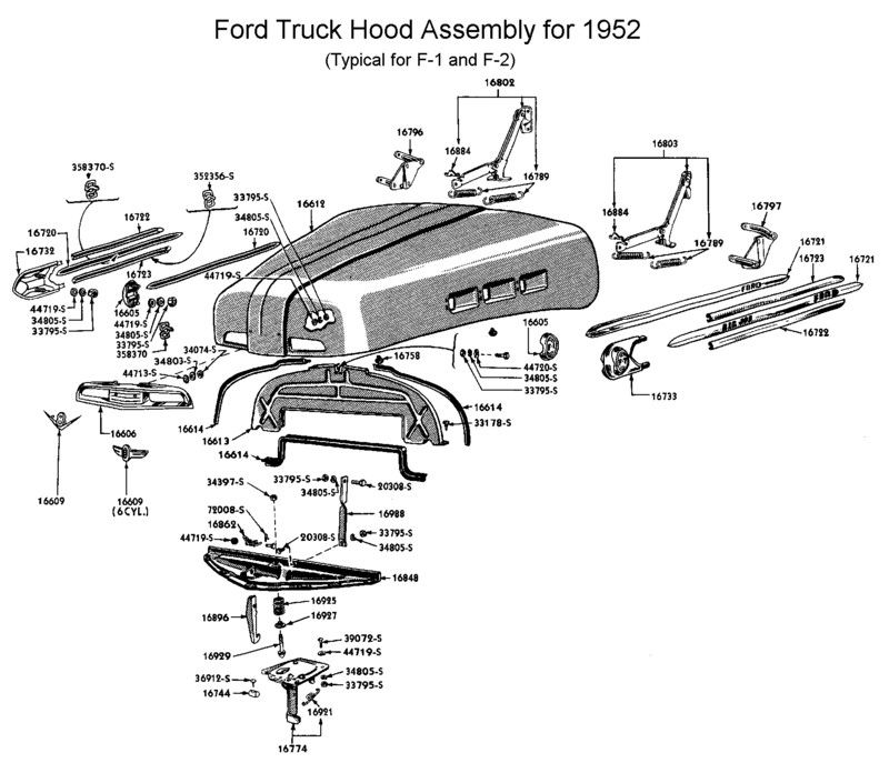 iso  1951   52 ford f100 hood trim spear  right lower or left upper