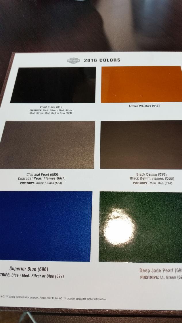 Harley Davidson Colors Chart
