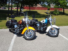 My wide and I have matching bikes, sort of.