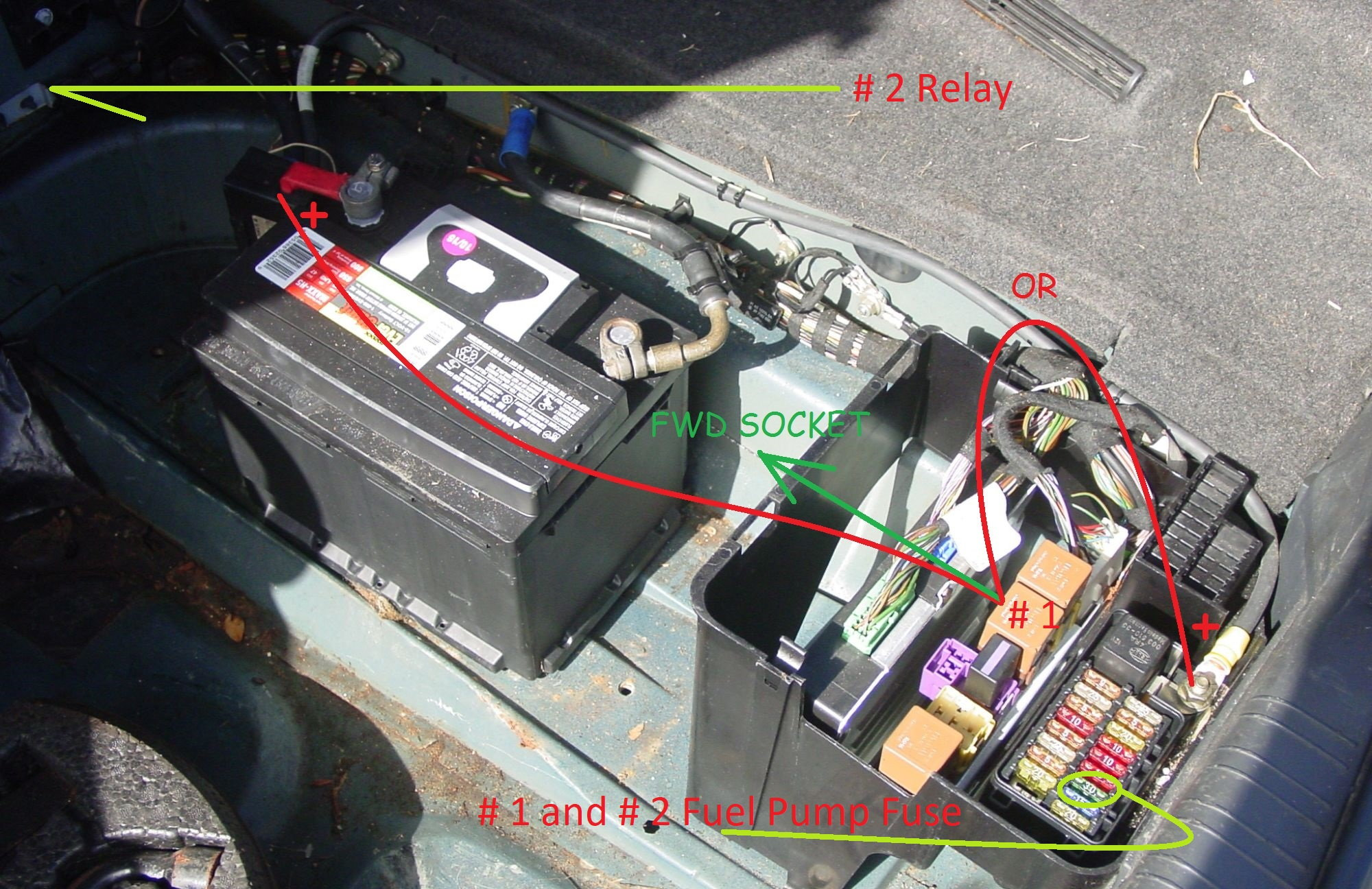 Which Pins To Manually Trigger Or Jump Fuel Pump Relay Jaguar 2001 S Type Trunk Fuse Box In The Control That Closes Relays Is Also Shared As 10 5 Amp Rh Heelboard Ecu Provides A Ground Command