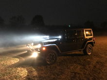 Rigid Industries D2 High/Low driving lights, with stock headlights and foglights