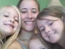 Me and my girls yesterday morning.  Not a great pic but oh well lol