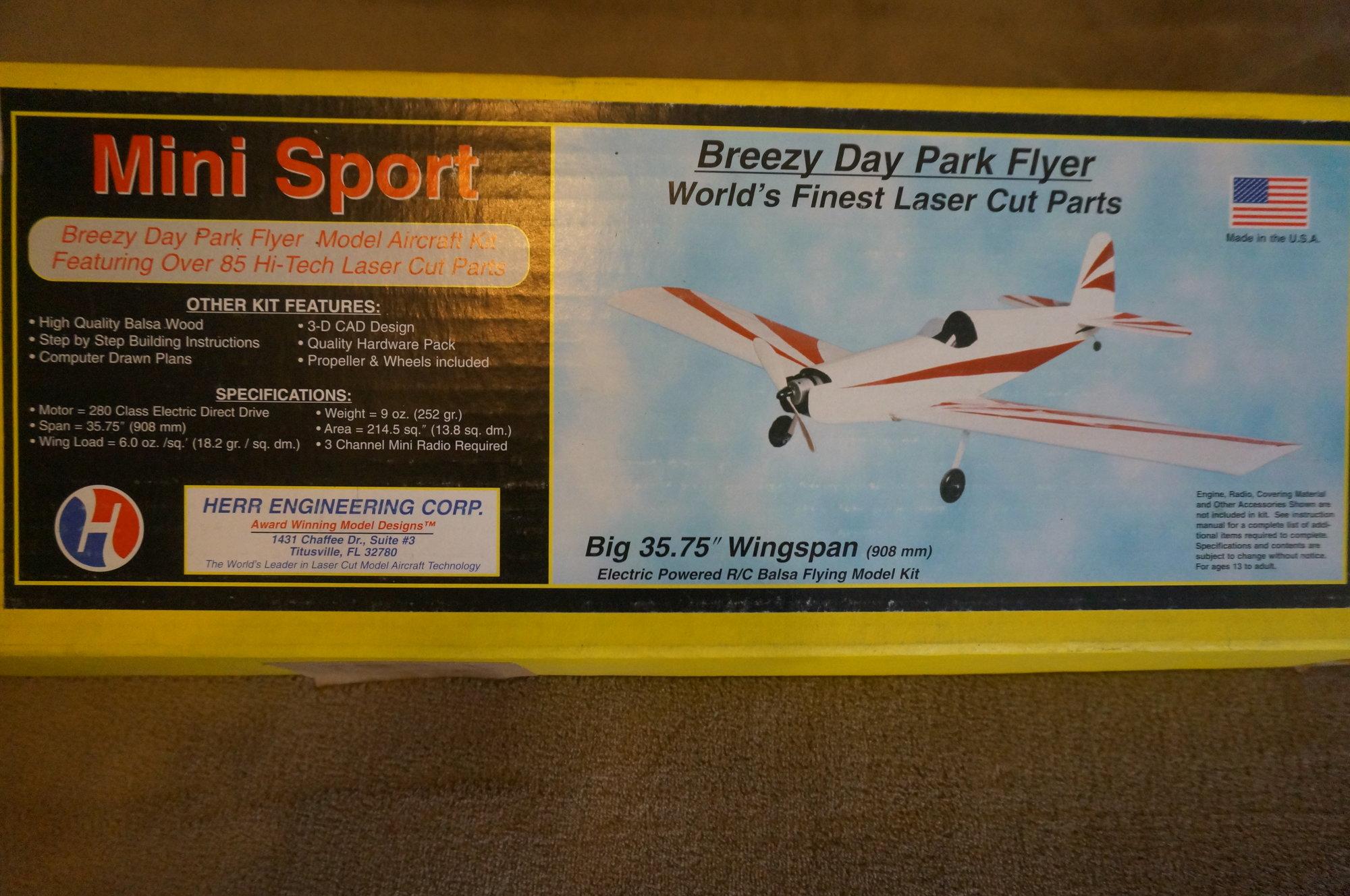 Herr Mini Sport R/C Model Airplane Kit, Brand New in Box - RARE