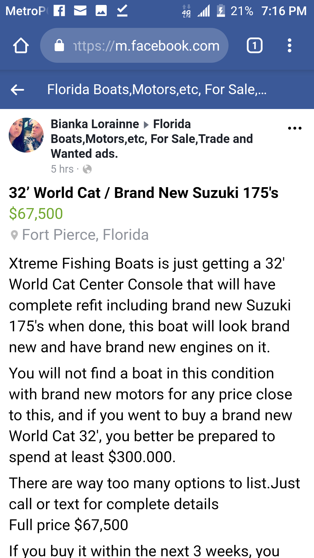 Buyer Beware    Selling on Facebook now!!! Xtreme Fishing