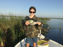 Lake okeechobee. Younger daughter.  All on the bow of my 83 Willy Roberts.
