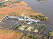 battleship NC Flooded parking lot