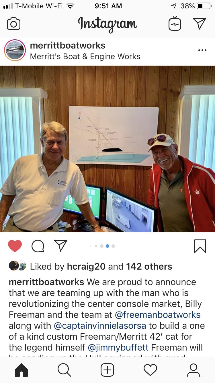 Freeman/Merritt 42 outboard cat fisharound for Jimmy Buffet