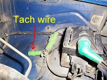 This is where I traced the tach wire back into the cab to find the tach wire in the body harness under the dash.