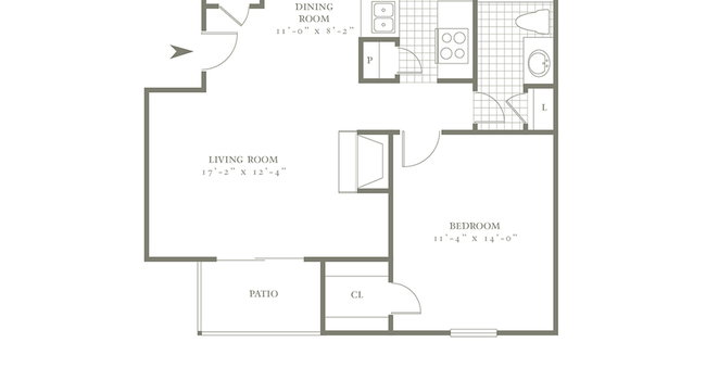 One Bedroom/One Bath- 696 sf