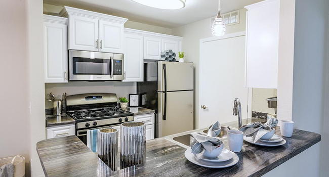Galley style kitchens featuring stainless steel appliances, black fusion counter tops, wood-style flooring, and a breakfast bar.